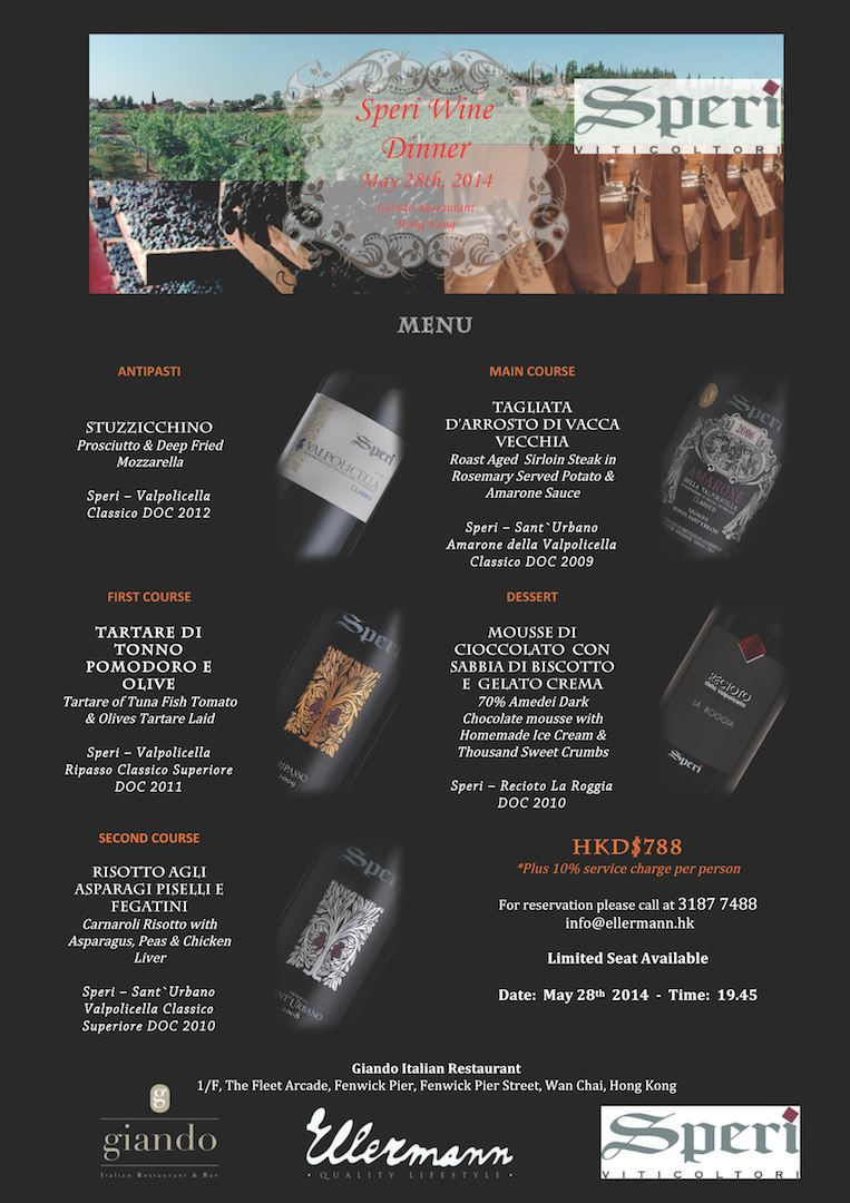 Speri Wine Dinner - Giando Restaurant