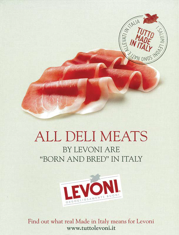 Tutto Made in Italy Levoni, all deli meats by Levoni are Born and Bred in Italy